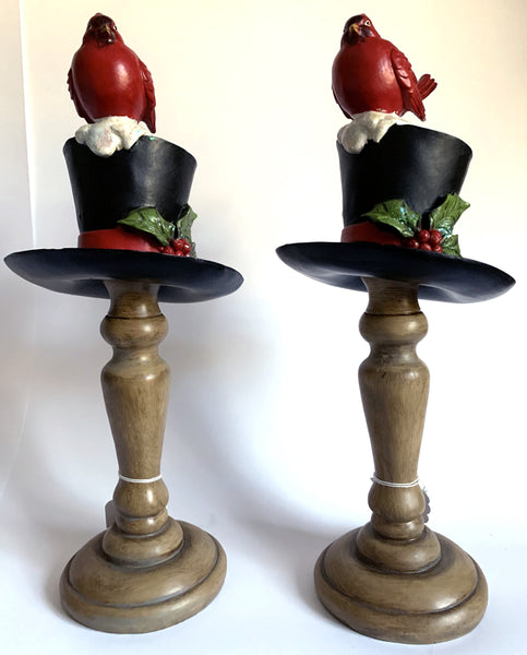Cardinal on Top Hat Stick (Pair)
