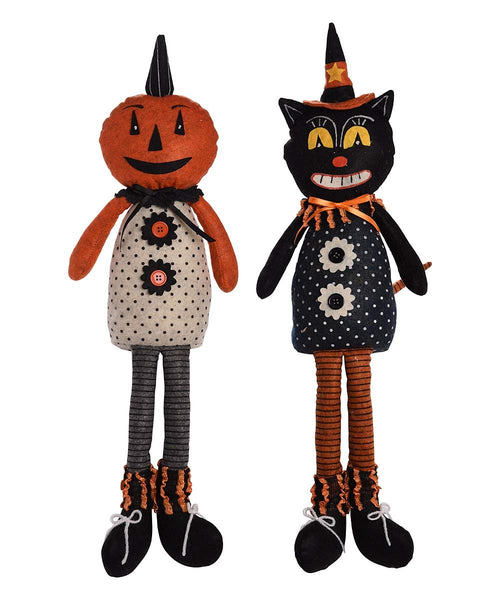 Johanna Parker Design • Plush Halloween Vintage-Style Shelf Sitter (set of 2)