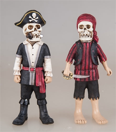 Skeleton Pirate & Mate Standing Figures (1 pair)