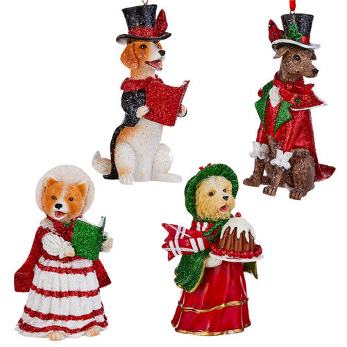 Caroling Dog Ornament (set of 4)