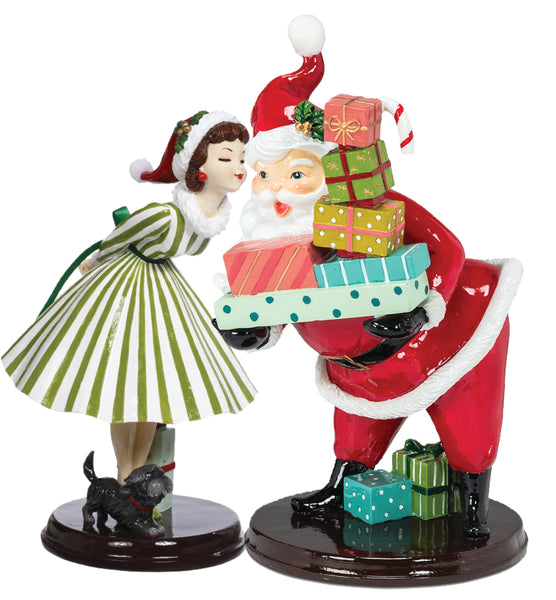 Retro Santa with Gifts and Glossy Girl Figure (Pair)