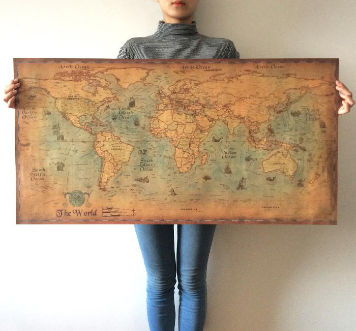 Antique Nautical Ocean World Map Poster