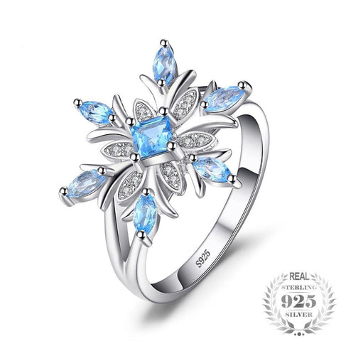 Blue Topaz & Sterling Silver Snowflake Ring
