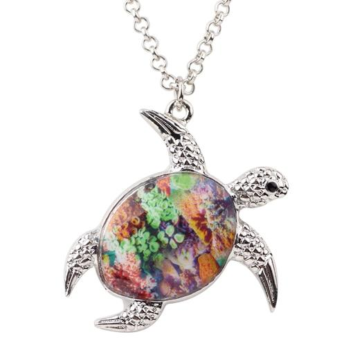 Colorful Enamel Turtle Necklace