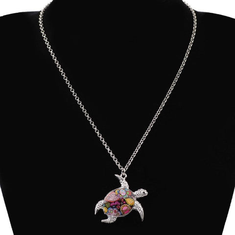 Image of Colorful Enamel Turtle Necklace