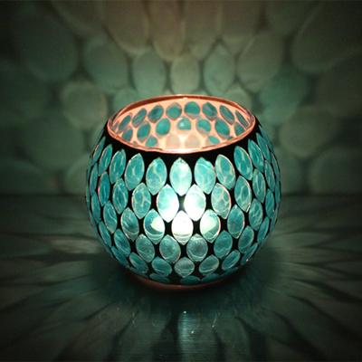 Handmade Nature Mosaic Candle Holder