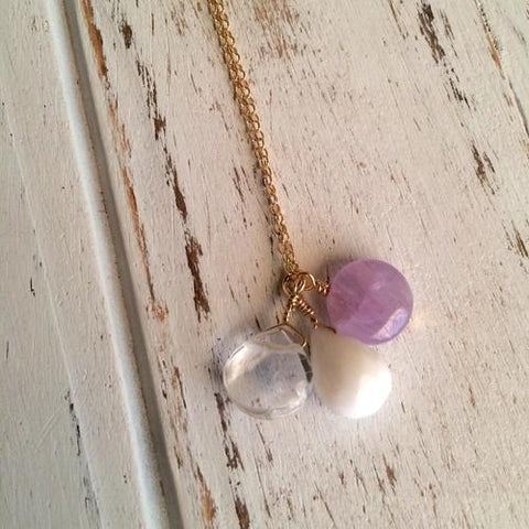 Image of Jewelry & Watches - Cape Amethyst, Crystal Quartz & Snow Necklace