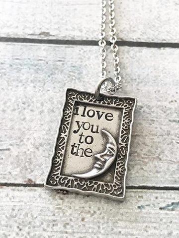Jewelry & Watches - Love You To The Moon And Back - Hand Stamped