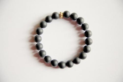 Image of Jewelry & Watches - Men's Genuine Frosted Black Onyx Bracelet