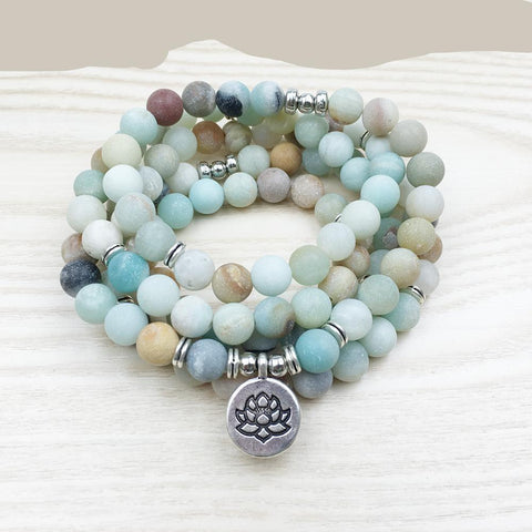 Jewelry - Women`s Amazonite 108 Mala Beads Bracelet / Necklace