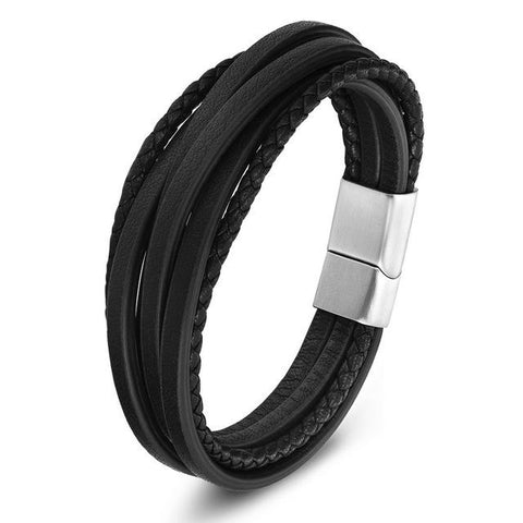 Men's Genuine Leather And Stainless Steel Bracelet