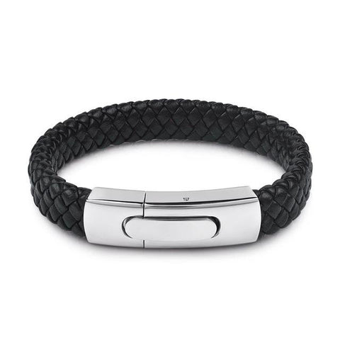 Image of Men's Leather And Stainless Steel Bracelet