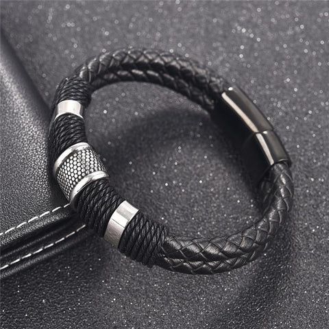 Men's Woven Leather & Titanium Bracelet
