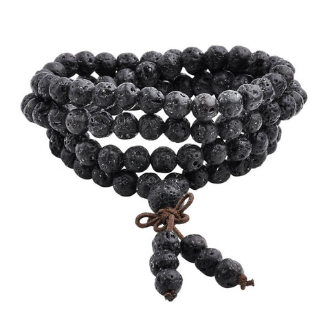 Image of Natural Lava Stone Tibetan Mala Bracelet / Necklace