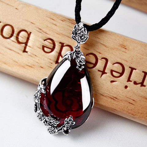 Silver Sterling Garnet Water Drop Necklace