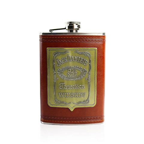 Image of Stainless Steel And Leather Hip Flask