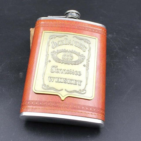Stainless Steel And Leather Hip Flask