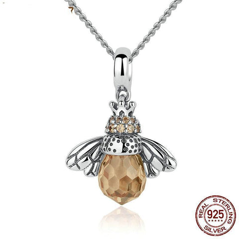 Image of Sterling Silver Dancing Bee Drop Necklace