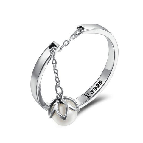 Image of Sterling Silver Dancing Flower Drop Ring