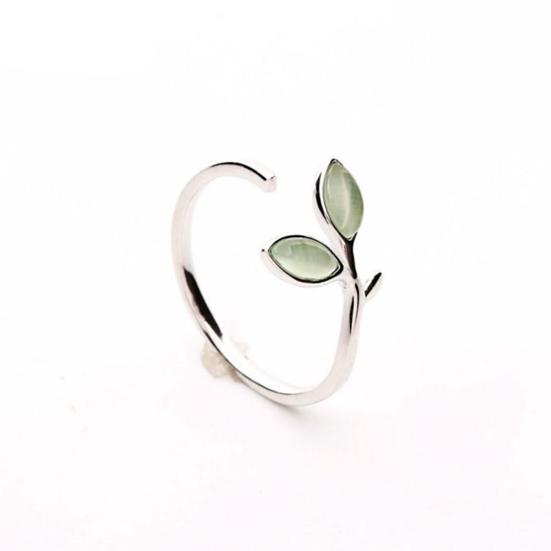 Sterling Silver Green Opal Leaves Ring