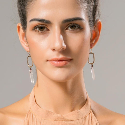 Image of Women's Natural Stone Drop Earrings