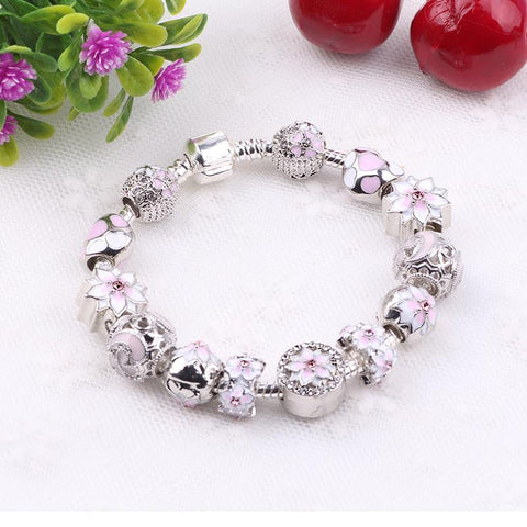 Image of Women's Pink Flower Charm Bracelet
