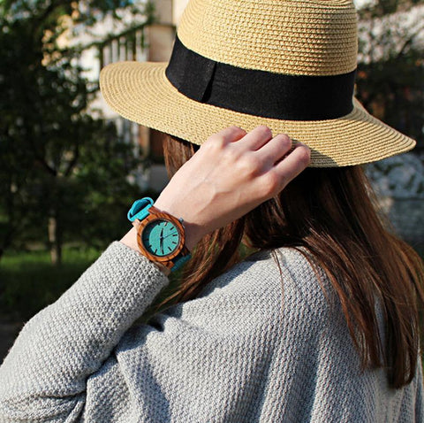 Image of Women's Turquoise Dial Zebra Wood Watch