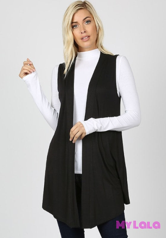 1 1438 Curvy Open Front Sleeveless Cardigan (Black)