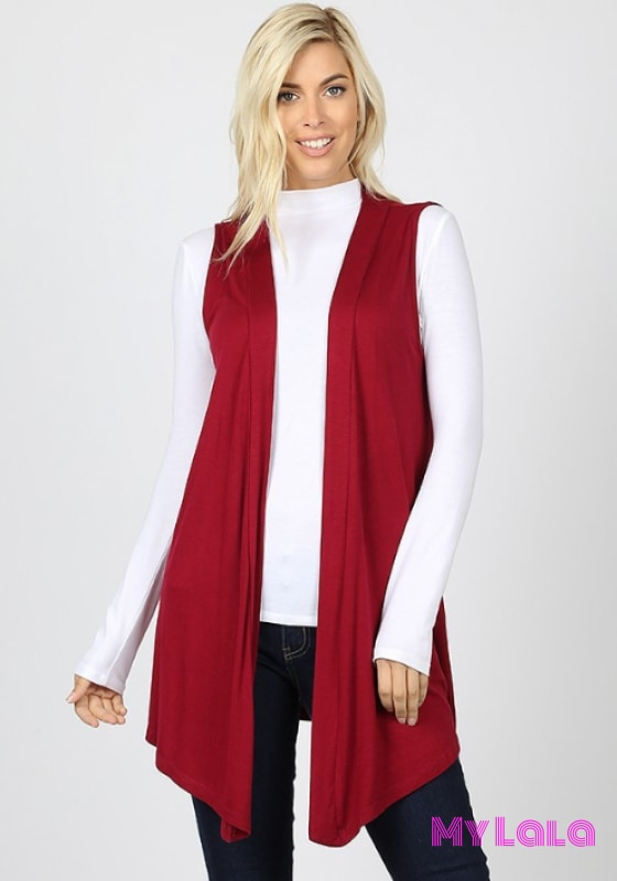 Open Front Sleeveless Cardigan (Cabernet) - My Lala Leggings, soft leggings, buttery soft leggings, one size leggings