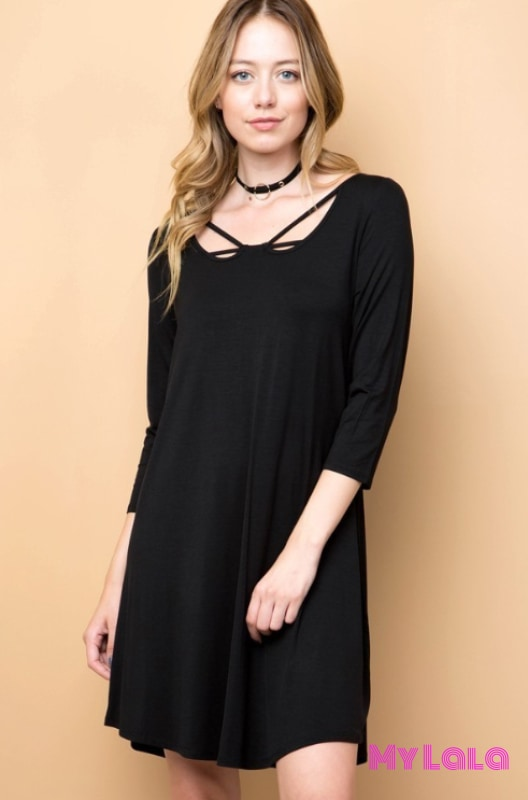 1 1755Ml Dress Curvy 3/4 Sleeve Criss-Cross (Black)