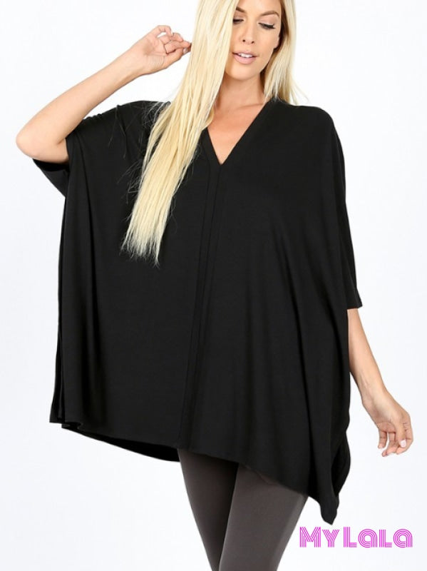 1 2044 Olivia Oversized V Neck (Black)