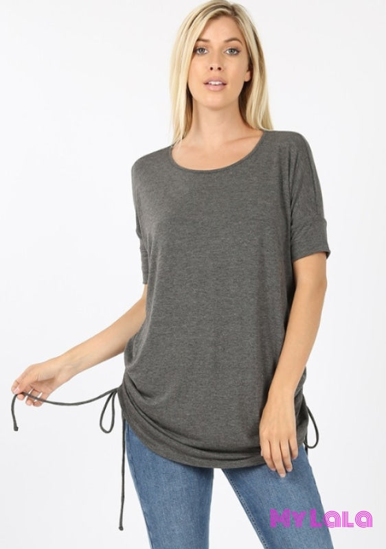 1 2056 Curvy Cinched Sides Cindy (Charcoal)