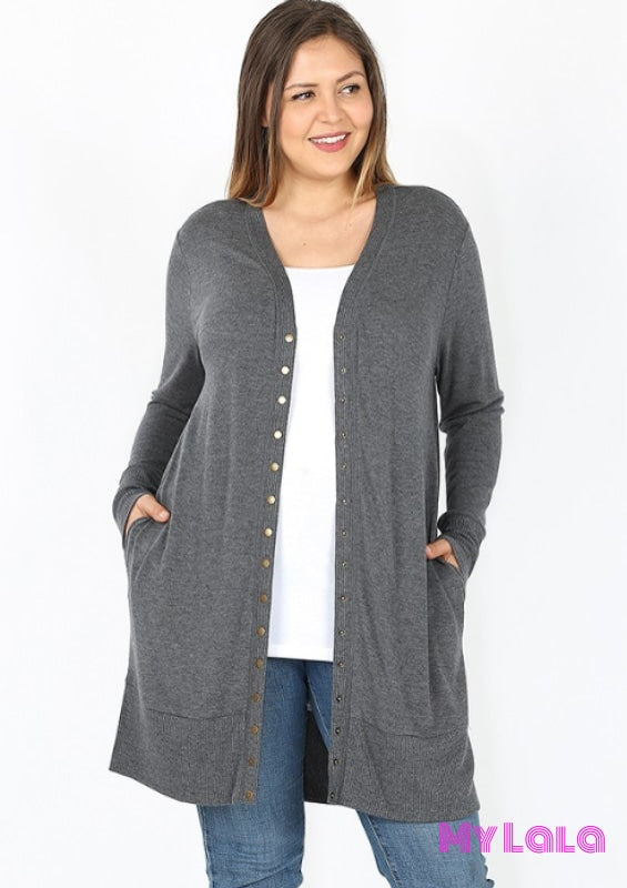 Curvy Open Snap Cardigan (Charcoal) - My Lala Leggings, soft leggings, buttery soft leggings, one size leggings