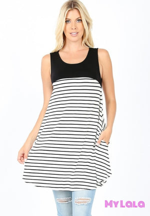 1 2072 Susie Sleeveless Striped Top (Black)
