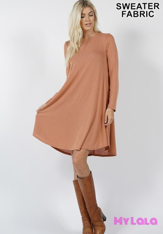 DRESS Rochester Sweater Dress (Camel) - My Lala Leggings, soft leggings, buttery soft leggings, one size leggings
