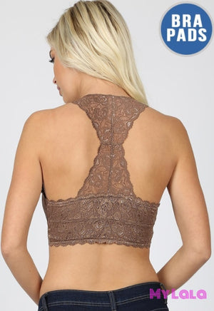 1 6324 Hourglass Back Lace Bralette (Black)