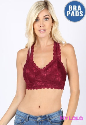 1 6324 Hourglass Back Lace Bralette (Cabernet)