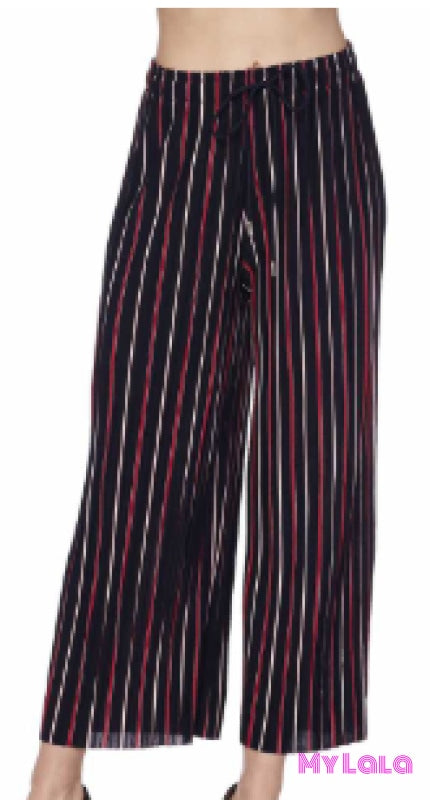 Curvy Pleated Drawstring Wide Leg Pants (Navy Stripe) - My Lala Leggings, soft leggings, buttery soft leggings, one size leggings