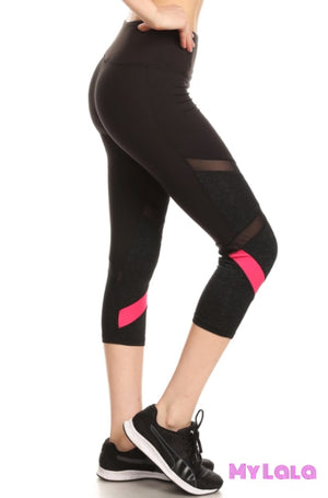 1 8Cp18 Black & Hot Pink Capri Active Wear