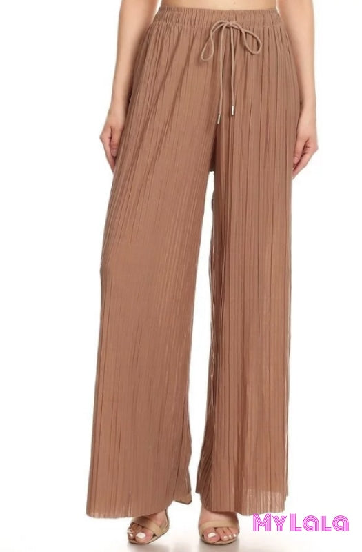 Pleated Loose Fit Pants OS (Mocha) - My Lala Leggings, soft leggings, buttery soft leggings, one size leggings