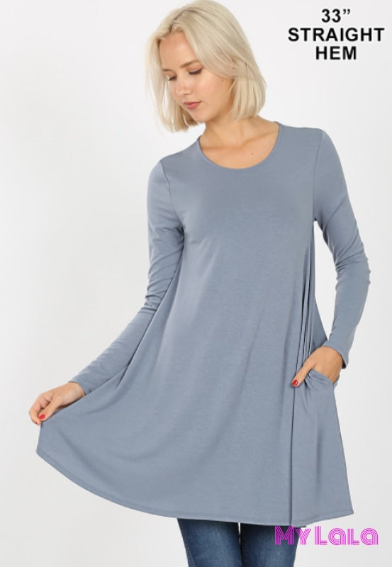 Lydia Long Sleeve Pocket Tunic (Cement) - My Lala Leggings