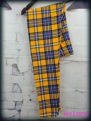 Curvy Plaid Me Yellow - My Lala Leggings, soft leggings, buttery soft leggings, one size leggings