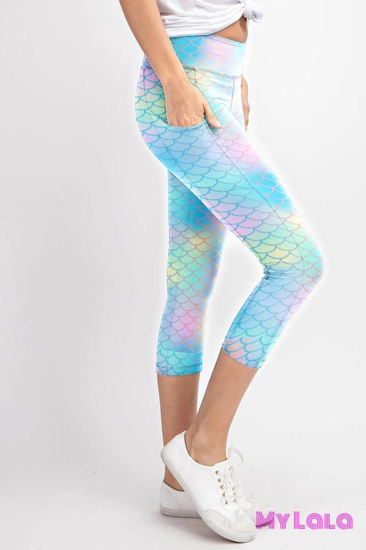 Curvy Pocketed Yoga Softy Capri (Mermaid Shimmer) - My Lala Leggings, soft leggings, buttery soft leggings, one size leggings