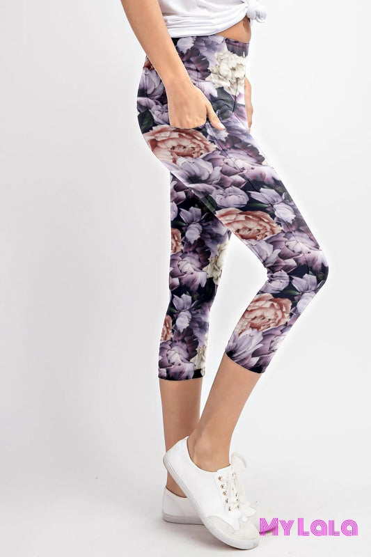 1 Curvy Pocketed Yoga Softy Capri (White And Purple Flower)