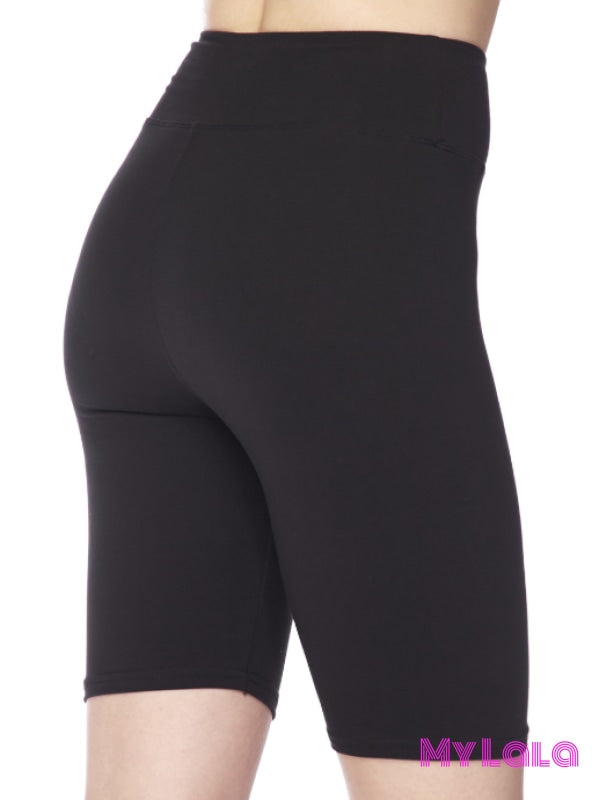 1 Curvy Solid Black Bike Shorts