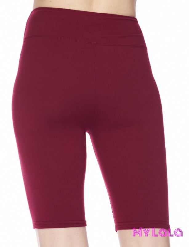 1 Curvy Solid Burgundy Bike Shorts