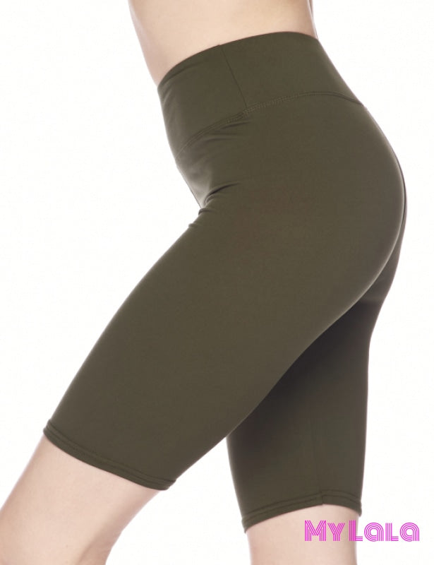 1 Curvy Solid Olive Bike Shorts