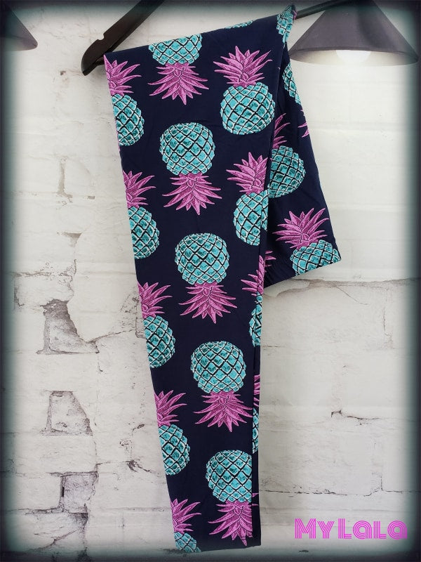 Extra Curvy Blue Pineapple (24-32) - My Lala Leggings, soft leggings, buttery soft leggings, one size leggings