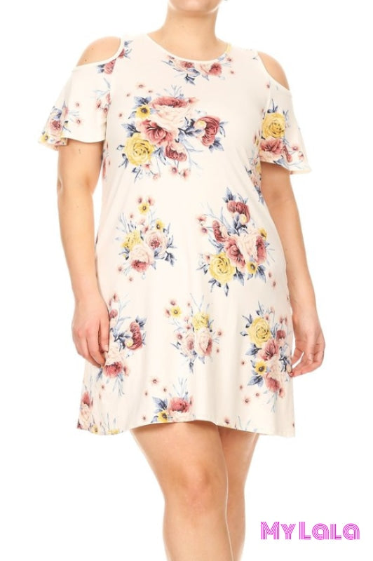 1 D562 Dress Curvy Floral Cold Shoulder Shorty