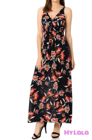 1 Dress - Floral Sleeveless (Grey)